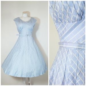 Vtg 50s rhinestone baby blue lattice print dress